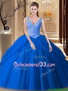 Blue Tulle Backless Quinceanera Dress Sleeveless Floor Length Lace and Pick Ups