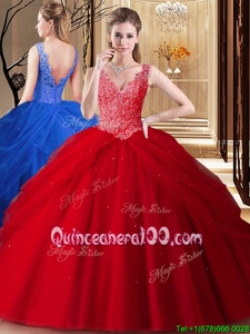 Fitting Red Backless V-neck Lace and Appliques and Pick Ups 15th Birthday Dress Tulle Sleeveless