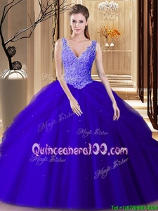 Hot Sale Backless Royal Blue and Navy Blue Sleeveless Lace and Appliques and Pick Ups Floor Length Quinceanera Dresses