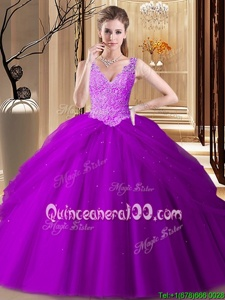 Fantastic Purple Sleeveless Floor Length Appliques and Pick Ups Backless 15th Birthday Dress