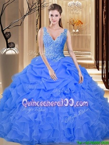 Pick Ups Ball Gowns Quince Ball Gowns Blue V-neck Organza Sleeveless Floor Length Backless