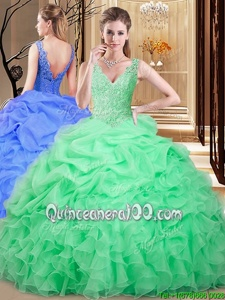 High Class Apple Green V-neck Backless Lace and Appliques and Pick Ups Sweet 16 Dresses Sleeveless