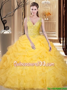 Sleeveless Organza Floor Length Backless Quince Ball Gowns inGold forSpring and Summer and Fall and Winter withLace and Appliques and Ruffles and Pick Ups