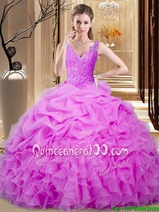 High Quality Lilac Sleeveless Floor Length Lace and Ruffles and Pick Ups Backless Ball Gown Prom Dress