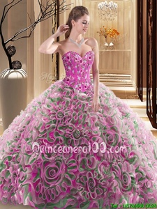 Cute Multi-color Ball Gowns Sweetheart Sleeveless Fabric With Rolling Flowers With Brush Train Lace Up Embroidery and Ruffles Quince Ball Gowns