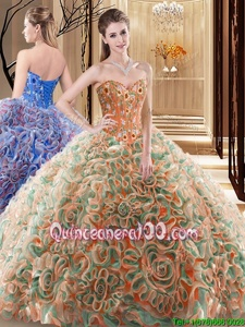 Noble Multi-color Sleeveless With Train Embroidery and Ruffles Lace Up Vestidos de Quinceanera