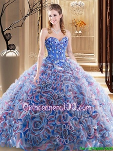 Graceful Sweetheart Sleeveless Fabric With Rolling Flowers Quince Ball Gowns Embroidery and Ruffles Brush Train Lace Up