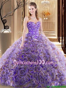 Beauteous With Train Ball Gowns Sleeveless Multi-color Quinceanera Dresses Brush Train Lace Up