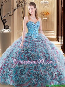 Charming Sweetheart Sleeveless Quinceanera Gowns With Brush Train Embroidery and Ruffles Multi-color Fabric With Rolling Flowers
