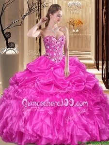 Spectacular Fuchsia Sleeveless Organza Lace Up 15th Birthday Dress forMilitary Ball and Sweet 16 and Quinceanera