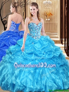 Fashion Floor Length Aqua Blue Quinceanera Gowns Organza Sleeveless Spring and Summer and Fall and Winter Lace and Appliques