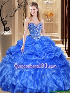 Extravagant Spring and Summer and Fall and Winter Organza Sleeveless Floor Length Quince Ball Gowns andLace and Appliques