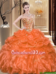 Charming Sleeveless Lace Up Floor Length Embroidery and Ruffles Quince Ball Gowns