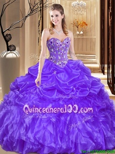 Shining Purple 15th Birthday Dress Military Ball and Sweet 16 and Quinceanera and For withBeading and Embroidery Sweetheart Sleeveless Lace Up