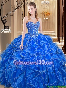 Amazing Sleeveless Embroidery and Ruffles Lace Up Quinceanera Dresses