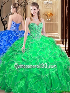 Decent Spring Green Sleeveless Organza Lace Up Quinceanera Dresses forMilitary Ball and Sweet 16 and Quinceanera