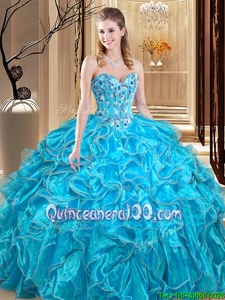 Fantastic Sleeveless Lace Up Floor Length Embroidery and Ruffles 15 Quinceanera Dress