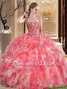 Superior Watermelon Red Sleeveless Embroidery and Ruffles Floor Length Vestidos de Quinceanera