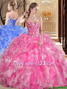 Gorgeous Ball Gowns Sweet 16 Dresses Rose Pink Sweetheart Organza Sleeveless Floor Length Lace Up