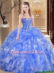 Vintage Sweetheart Sleeveless Organza Quinceanera Dress Beading and Embroidery and Ruffles Lace Up
