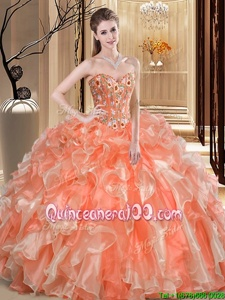 Low Price Orange Lace Up Quince Ball Gowns Beading and Ruffles Sleeveless Floor Length