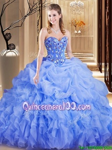 Best Selling Sleeveless Brush Train Lace Up Embroidery and Ruffles and Pick Ups Sweet 16 Dresses