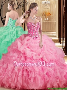 Smart Rose Pink Lace Up Sweetheart Embroidery and Ruffles and Pick Ups Ball Gown Prom Dress Organza Sleeveless Brush Train