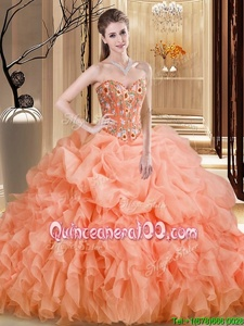 Fantastic Orange Sweetheart Lace Up Beading and Embroidery and Ruffles Sweet 16 Dress Brush Train Sleeveless
