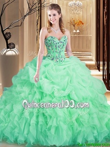 Sophisticated Apple Green Organza Lace Up Sweetheart Sleeveless Ball Gown Prom Dress Brush Train Embroidery and Ruffles