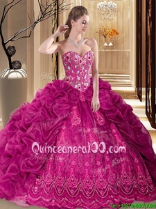 Sexy Fuchsia Ball Gowns Organza Sweetheart Sleeveless Embroidery and Pick Ups Lace Up Sweet 16 Quinceanera Dress Court Train