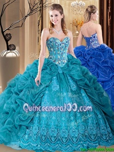 Popular Teal Lace Up Sweetheart Embroidery and Pick Ups Sweet 16 Dresses Organza Sleeveless