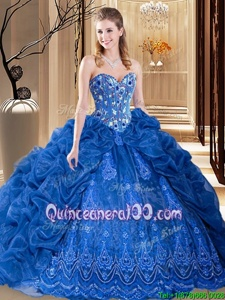 Glorious Sleeveless Organza Court Train Lace Up 15th Birthday Dress inRoyal Blue forSpring and Summer and Fall and Winter withEmbroidery and Pick Ups