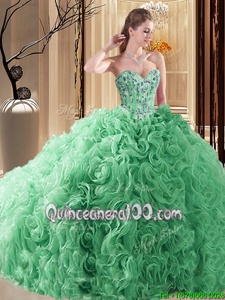 Fantastic Spring Green Sleeveless Fabric With Rolling Flowers Court Train Lace Up 15th Birthday Dress forProm and Military Ball and Sweet 16 and Quinceanera