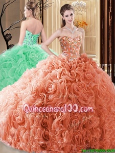 Popular Sweetheart Sleeveless Fabric With Rolling Flowers Ball Gown Prom Dress Embroidery and Ruffles Lace Up