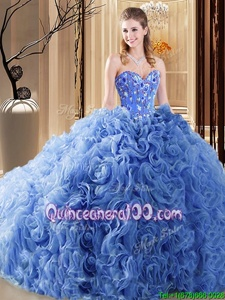 Stylish Blue Ball Gowns Organza and Fabric With Rolling Flowers Sweetheart Sleeveless Embroidery and Ruffles Lace Up Quince Ball Gowns Court Train