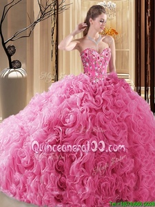 Fashionable Rose Pink Sweetheart Neckline Embroidery and Ruffles and Pick Ups Quinceanera Dresses Sleeveless Lace Up