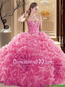 Trendy Rose Pink Sweetheart Lace Up Embroidery and Ruffles and Pick Ups Vestidos de Quinceanera Sleeveless