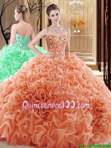 Discount Floor Length Orange Sweet 16 Quinceanera Dress Fabric With Rolling Flowers Sleeveless Spring and Summer and Fall and Winter Embroidery and Ruffles and Pick Ups