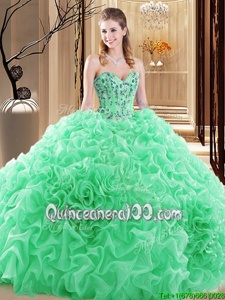 Cute Floor Length Lace Up Quinceanera Gowns Spring Green and In forProm and Military Ball and Sweet 16 and Quinceanera withEmbroidery and Ruffles and Pick Ups