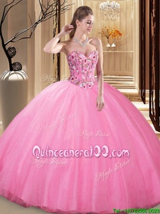 Glittering Floor Length Rose Pink Quinceanera Dresses Tulle Sleeveless Spring and Summer and Fall and Winter Embroidery