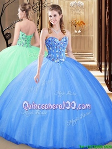Artistic Floor Length Blue Sweet 16 Dress Tulle Sleeveless Spring and Summer and Fall and Winter Embroidery