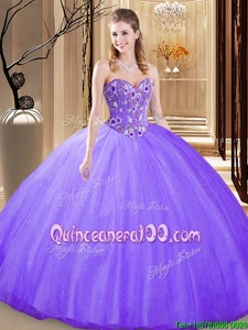 Custom Designed Tulle Sweetheart Sleeveless Lace Up Embroidery Quinceanera Dresses inLavender