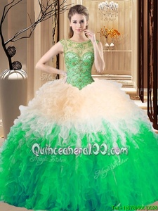 Charming Spring Green Tulle Backless Sweet 16 Quinceanera Dress Sleeveless Floor Length Beading and Ruffles