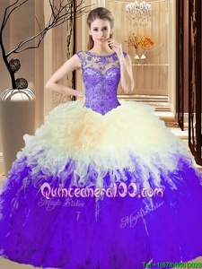 Fitting Beading and Ruffles Vestidos de Quinceanera Lavender Backless Sleeveless Floor Length