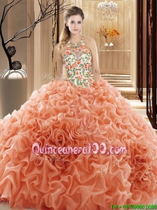 Simple Peach Backless High-neck Embroidery and Ruffles 15th Birthday Dress Organza Sleeveless Court Train
