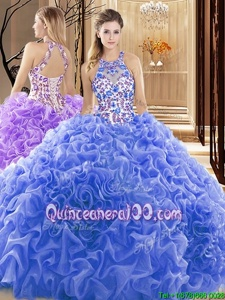 Customized Blue Backless Sweet 16 Dress Embroidery and Ruffles Sleeveless Court Train