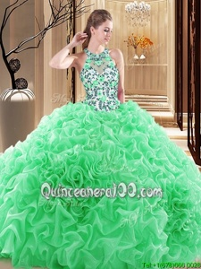 Gorgeous Ball Gowns Sleeveless Spring Green Sweet 16 Quinceanera Dress Brush Train Backless