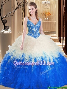 Artistic Multi-color Tulle Lace Up Straps Sleeveless Floor Length 15th Birthday Dress Lace and Ruffles