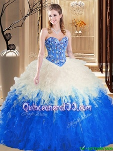 Modest Sleeveless Floor Length Embroidery and Ruffles Lace Up Quinceanera Gowns with Multi-color