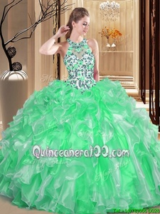 Spectacular Scoop Sleeveless Embroidery and Ruffles Lace Up Quinceanera Gown